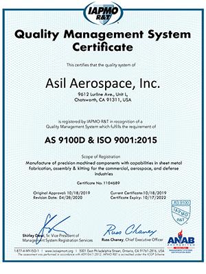 Asil Aerospace AS9100D Certificate